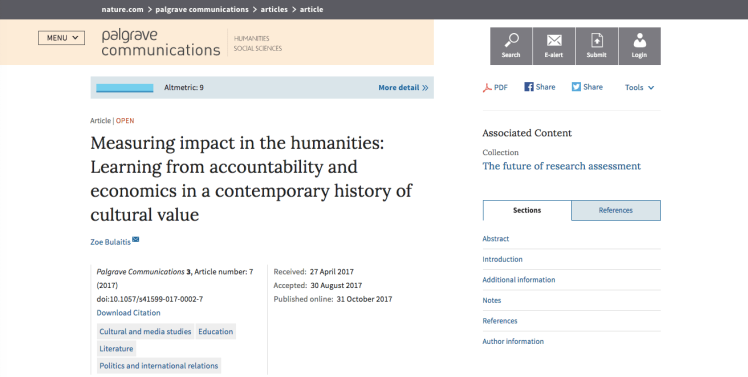 Measuring impact in the humanities: Learning from accountability and economics in a contemporary history of cultural value